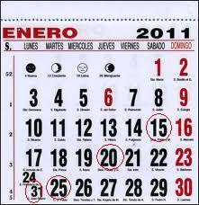 calendario enero 2011